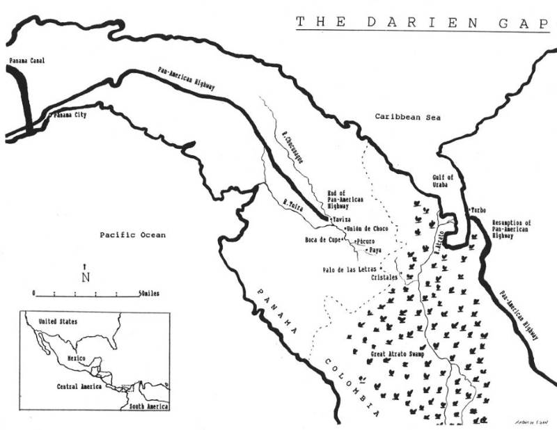 Darien Gap map created by Andrew Egan from various               sources
