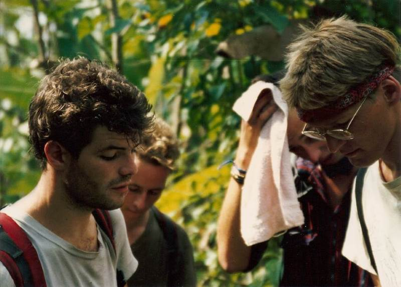 the Swedes (right) huddle with                 two Australian adventurers we met at the beginning of                 the expedition